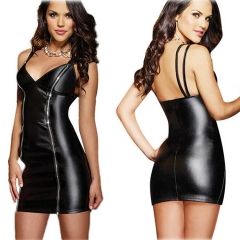 Womens Faux Leather Dress Black Vinyl Clubwear with Two Way Zippers