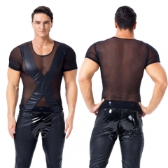 Men Transparent Short Sleeve Leather Tops